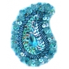 Motif Sequin Beaded 4.8x7.5cm (2pcs) Aqua